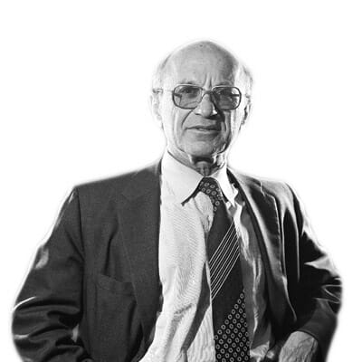 Milton Friedman isolated fundo branco